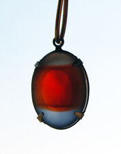 VINTAGE 2 RED GRAY BLACK DIAMOND STRIPED FROSTED GLASS OVAL PENDANTS • 18x13mm