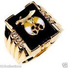 Shriner Mason Black Onyx 3 Clear Crystal Stone Gold Plated Men Ring Size 12