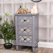 Grey Mirrored Bedside Table Chest Cabinet Vintage Venetian Chic Furniture Home