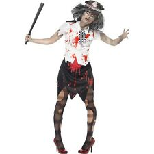 Women's Zombie Police Lady Halloween Fancy Dress Costume Horror Living Dead Fun