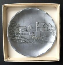 NIB Vintage Handmade Wendell August Forge Plate Amish Scene Silver 4.5 Inch
