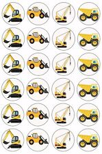 24 x CONSTRUCTION VEHICLES Wafer Rice Paper Cupcake Toppers EDIBLE Cake TRUCKS