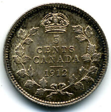 CANADA KING GEORGE V 1912 SILVER 5 CENTS UNC. ORIGINAL SURFACES