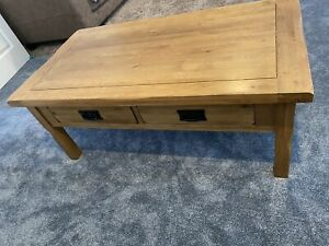 Oak Furniture Land Original Rustic Coffee Table 4 Drawers - Excellent Condition