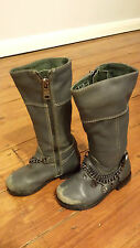 DIESEL GREY REAL LEATHER KNEE HIGH BOOTS METAL CHAIN CHARMS SIZE 21 5