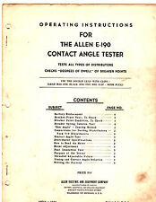 ALLEN E-190 CONTACT ANGLE TESTER INSTRUCTION MANUAL