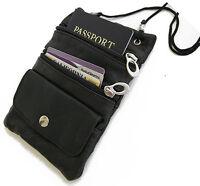 PASSPORT Genuine Leather ID Holder Neck Pouch Wallet TRAVEL Black Strap New!