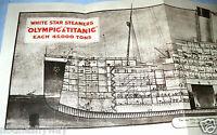 TITANIC Fold Out Deck Plans Old Ship Retro Book Picture Photo Antique Leaflet