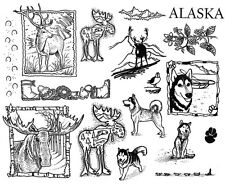 Unmounted Rubber Stamp Sheets, Alaska, Wildlife, Moose, Elk, Scenic Stamps, Dogs