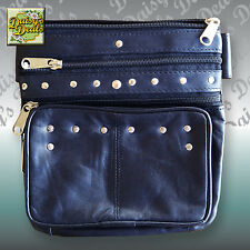 Women's Studded Leather Biker Waist Bag Cross Body Purse