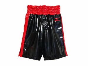 MIZUNO Boxing Trunks Pants Long type made in JAPAN Black × Red Enamel-like