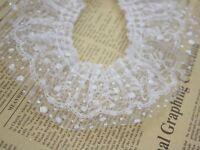 White Double Layer Ruffle Unilateral Glitter Dot Tulle Lace Ribbon Trim 60mm