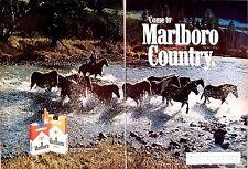 Marlboro Cigarette 2-Page PRINT AD 1977  Marlboro Man/Country cigarettes horses