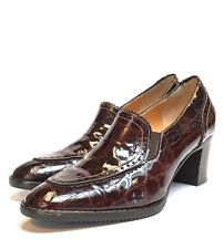 Luca Grossi Womens US 5.5 Brown Patent Leather Handmade Italian Shoes Heels