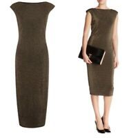 TED BAKER KAILEE Gold Black Sparkle Bodycon Midi Pencil Dress Size 1 UK 8 Party