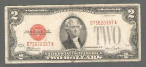 1928 United States $2 Two Dollar Red Seal Bill - S529