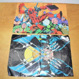 Vintage Marvel X-MEN Double Sided Poster Lot 1993 Deadpool Wolverine Jim Lee