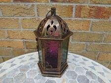Moroccan Style Copper Coloured Glass Candle Lantern.