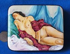 Russian HAND PAINTED LACQUER Box SEREBRIAKOVA Sleeping Nude & red shawl signed
