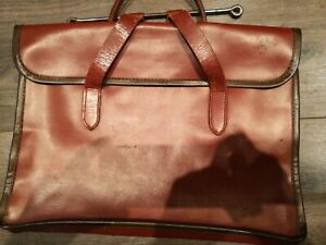 Vintage Document Briefcase Brown Leather Document Attache Case