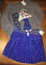 Justice Sz 7 8 Besties Sweatshirt Top Skort Skirt Blue Puppy Best Friend Set