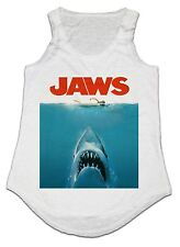 FUNNY JAWS MOVIE POSTER LADIES VEST TANK TOP ONE SIZE IDEAL GIFT PRESENT