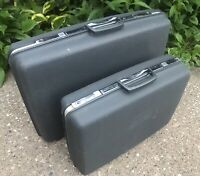 Set of 2 Piece Vintage Samsonite Saturn Gray Luggage Hard Shell Train Suitcases
