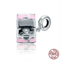 100% 925 Sterling Silver Pink Box Marry Me Surprise Beads Charm pandora