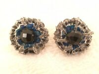 Vintage Hobe Black & Blue Beaded Clip-On Earrings