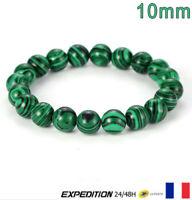 Bracelet Perle Malachite Pierre Naturelle Protection Lithothérapie 10 mm