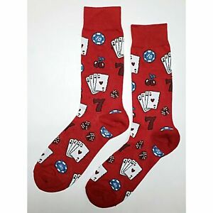NWT Casino Red Dress Socks Novelty Men 8-12 Red Fun Sockfly