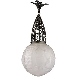 Art Deco glass and wrought iron peacock hall lamp Muller Frères France 1930