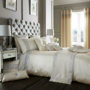 KING DUVET SET CREAM WITH SILVER DIAMANTE EMBELLISHMENT AND PLEATED DETAIL OXY