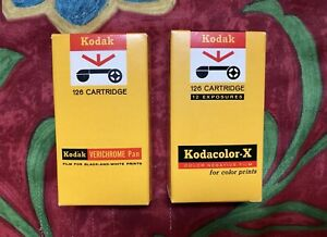 Vintage Unused Kodak 126 Cartridge Film 2 rolls B&W Verichrome Pan & Kodacolor-X