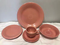 5pc Fiesta Homer Laughlin Pink Rose Lead Free Dinner Bread Bowl Cup Saucer   24D