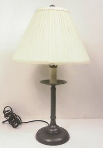 """Hubbardton Forge 23"""" Simple Lines Candlestick Table Lamp w/Shade Natural Iron"""