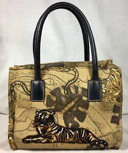 "Handbag with Beaded Tiger Zip Close Purse Size 10"" X 8"" X 4"" EUC"