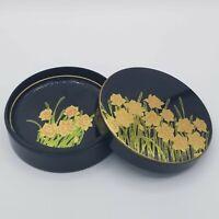 VTG OTAGIRI ORIGINAL Japan Hand Crafted Coaster Set of 4 Coasters Iris Flowers