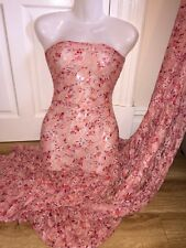 """3 MTR PEACHY PINK FLORAL PRINT LACE NET LYCRA STRETCH FABRIC..60"""" WIDE £14.99"""