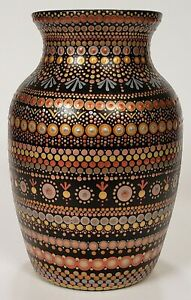 Vase Hand Painted Dot Art Original Unique Glass Handmade Metallic Urn Mandala