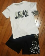 NWT Nike Air Jordan 2pc shirt & short outfit/ set, Reflect Blk/ White Med 6