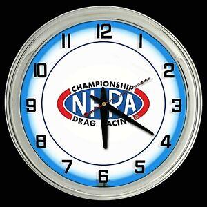 "16"" NHRA Championship Drag Racing Blue Neon Clock Man Cave Garage Shop"