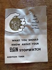 1950s ELGIN Company Stopwatch Timer Watch Instructions Foldout Brochure Ad