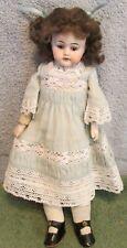 "Antique 11 1/2"" Simon & Halbig Bisque Shoulderhead Doll~Kid Body~Mohair Wig~LOOK"