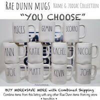 "Rae Dunn Mug ""YOU CHOOSE"" Name & Zodiac Collection JOHN MARY PISCES NEW '19-20"