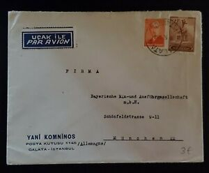 1949 Galata Istanbul Turkey Munich Germany Yani Komninos Mail Box Airmail Cover