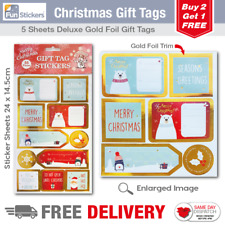 Gold Foil Christmas Gift Tag Stickers 55 Pieces - 1705