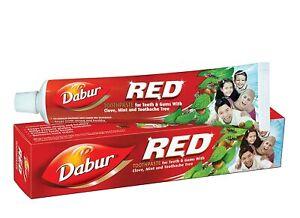 Dabur Rot Kräuter- Zahn Paste 200 Gramm Ayurvedic Klee & Minze + UK US