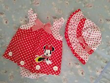 Minnie Mouse Baby Girl romper and hat Set size 6-12mths
