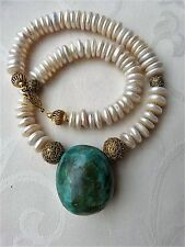 "Huge Natural ArizonaTurquoise Pendant, Pearl Necklace, Or du Pays-Senegal ""gold"""
